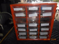 12 diff size of plastic parts cabinets and accessories