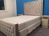 DOUBLE PRINCES / CUBE HIGH HEADB VELVET BED FREE DELIVERY