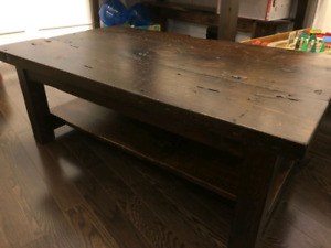 Coffee table made from solid reclaimed wood