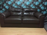 3- seater plus 2- seater faux brown leather sofa set