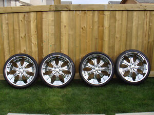 """26"""" CHROME RIMS WITH TIRE FOR SALE"""
