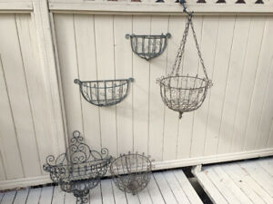 Wire Hanging Baskets and wall sconces