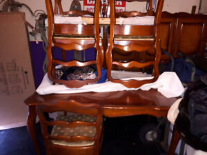 Vintage cherry wood table 6 chairs China hutch and two leafs