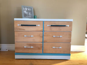Mid century blond Gelco dresser updated and highlighted in aqua