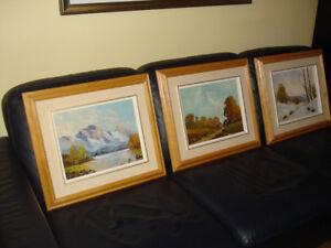 """Peintures (3) """" E. NEUSTEIN """" à l'huile sur toile + cadre bois"""