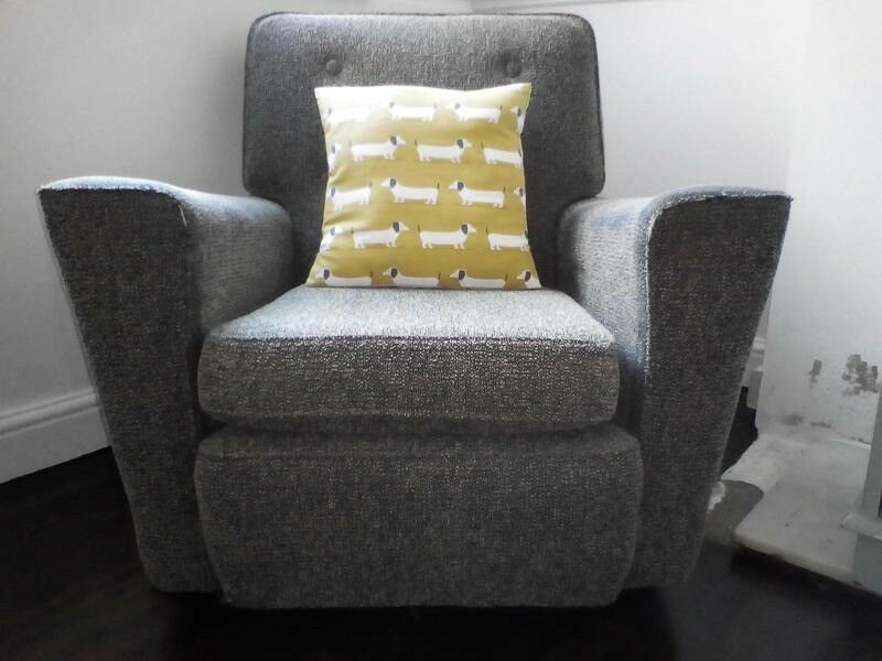 Retro Grey Tweed Fabric 50u0027s Shabby Chic Vintage Club Arm Chair