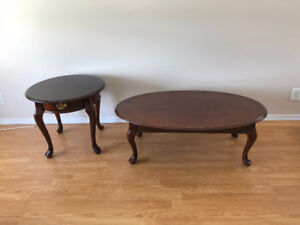 Solid Wood Coffee And Side Tables Set   Excellent Condition