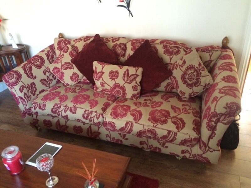 Superbe Ex Scs Windsor Cranberry Floral Fabric Patterned 3 Seater + Love Chair  HF39YWP2