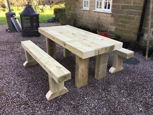 Rustic Solid Wooden Sleeper Outside Table And Benches /Garden Furniture