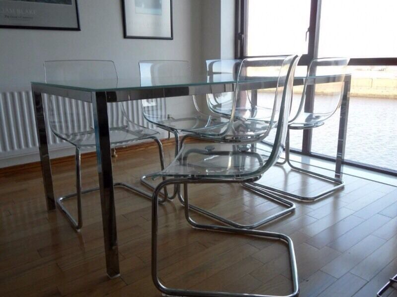 IKEA Torsby Table Chrome Frame Glass Top £50 (table ONLY)