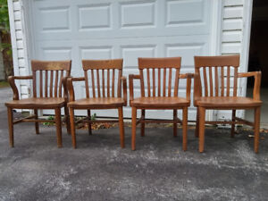 4 Vintage Wood Office Chairs With Arms (Collingwood)