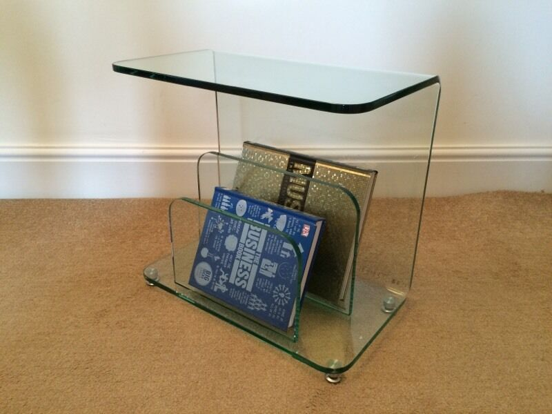 Curved Glass Side Table / Newspaper And Magazine Rack