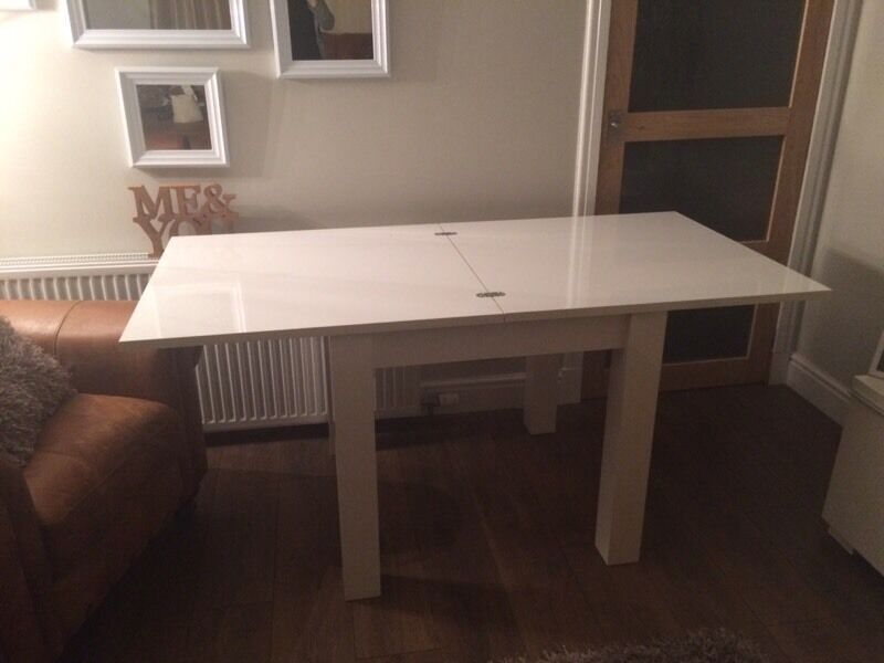 Next Valencia White High Gloss 4 5 Extendable Dining Table RRP £325