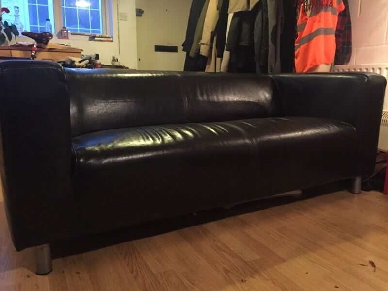 Klippan Ikea Black Leather Sofa (Stoke Newington)