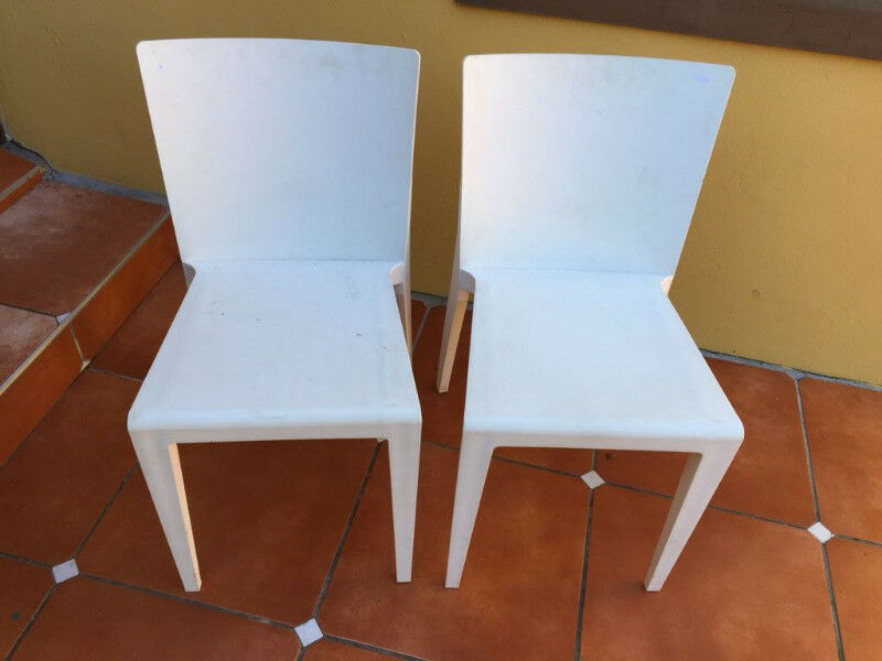 Modern White Polycarbonate Multi Use Chairs   2 Chairs Available In Whitish  Cream