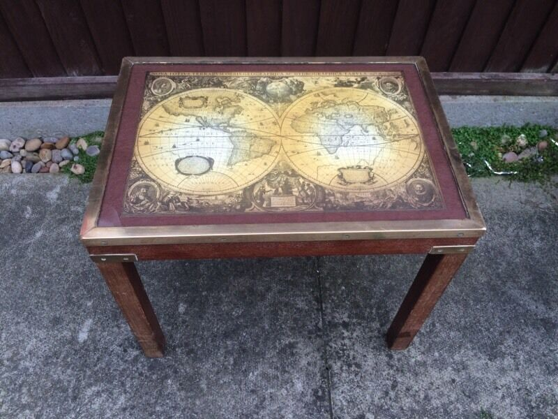 Vintage Ancient First World Map Table With Glass Top U0026 Brass Sides