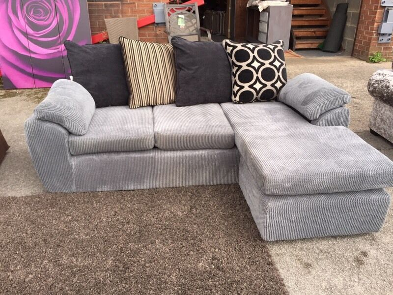 New Rebecca Reversible Corner Chaise Sofa In A Soft Touch Grey Fabric