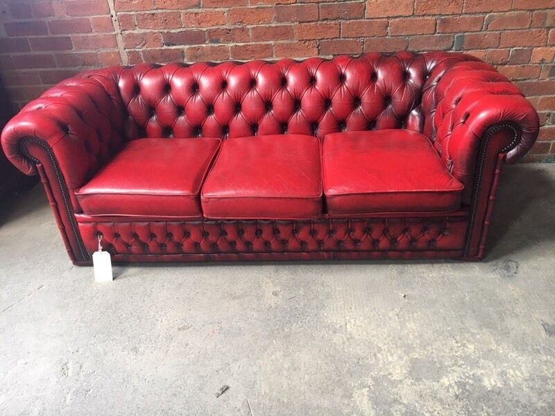 U0027Winchesteru0027 Oxblood Red Leather 3 Seater Chesterfield Sofa   UK Delivery