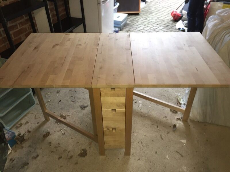 IKEA Fold Out Wooden Table GREAT CONDITIONS With Draws To Both Sides