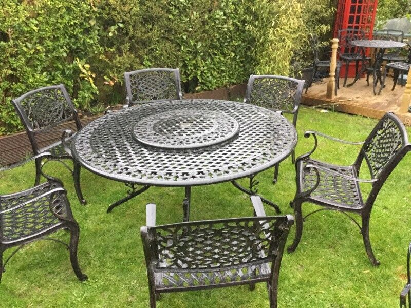 Merveilleux Garden Table And Chairs Seat 6 Used Cast Aluminium