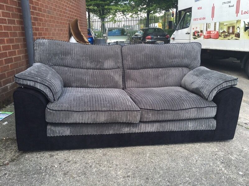 littlewoods delta 3 and 3 seater sofa set three black grey cord fabric