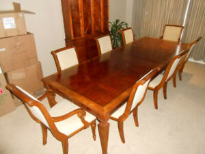 Merveilleux HUGE Ethan Allen Dining Table U0026 8 Chairs, 2 Leaves, High End!!