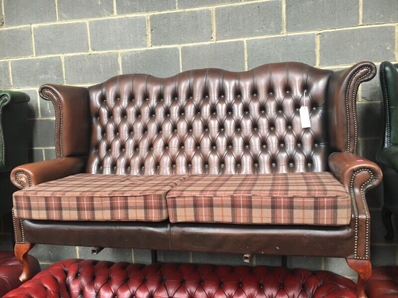 Genial Brown Leather Wing Back Chesterfield Sofa   Tartan Cushions   CAN DELIVER