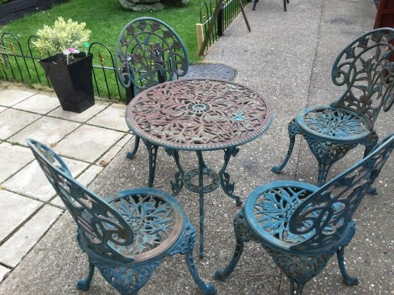 Garden Table And Chairs Vintage Cast Iron