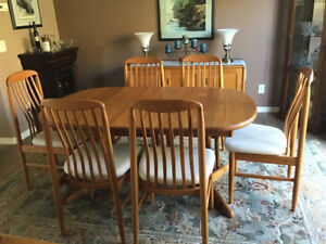 Teak Dining Set, 6 Chairs And Sideboard/buffet