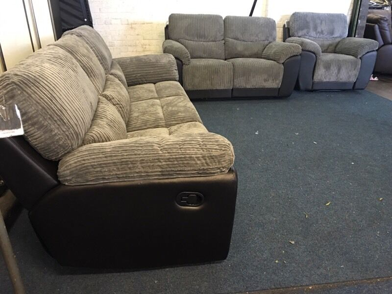 littlewoods sienna grey cord fabric and black faux leather 3 and 2 seater sofa plus armchair
