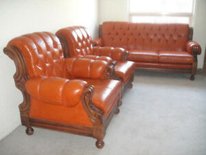 TOP OF THE LINE HARD WOOD LEATHER SOFA SET VALUE OVER $10000