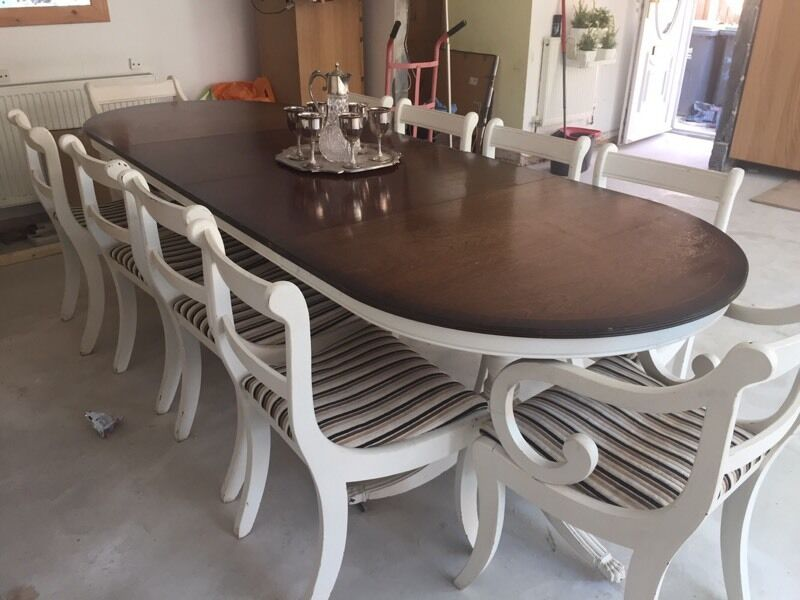 Nice 10 Seater Dining Table Part - 12: 6-10 Seater Dining Table With 10 Chairs Shabby Chic