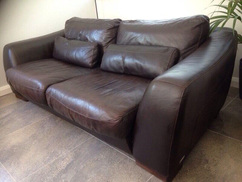 Incanto Divani Italian Chocolate Leather 3 Seater Sofa