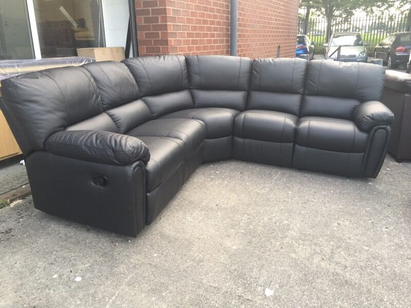 littlewoods leighton black real leather recliner corner sofa curved