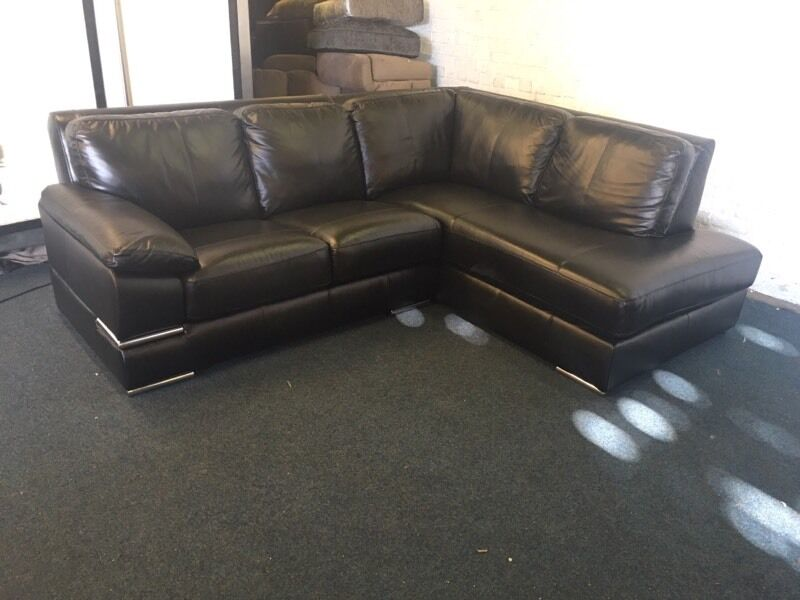ex littlewoods primo black italian leather right hand side chaise end l shape corner sofa