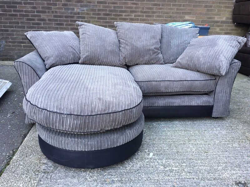 littlewoods reversible corner chaise end sofa grey cord fabric black small