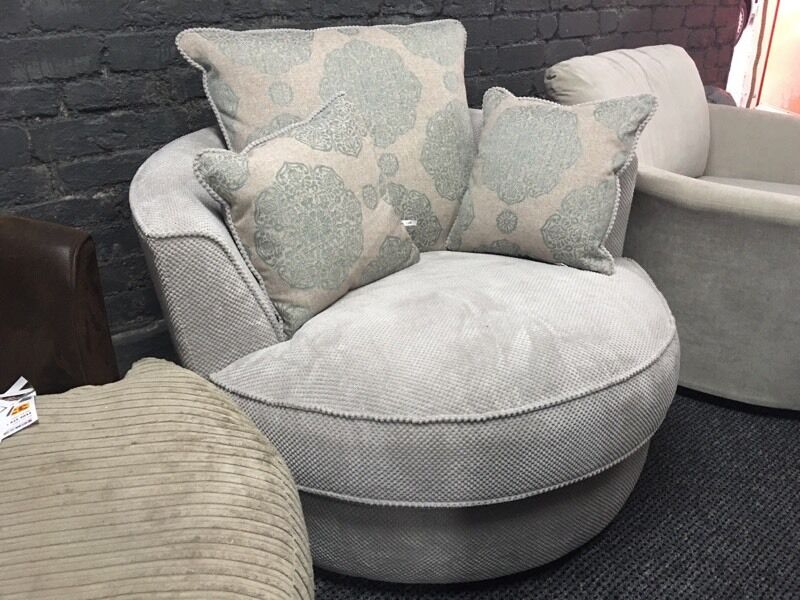 Grey Fabric Twister Swivel Armchair Round Spinning Chair
