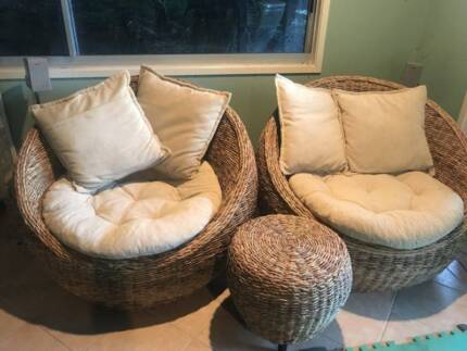 Round Wicker Cane Tub Chairs.