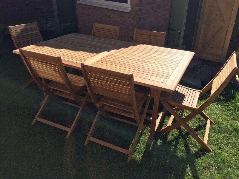 Beau Roscana Teak Wooden Outdoor 6 Seater Extending Dining Set Garden Table U0026  Chairs