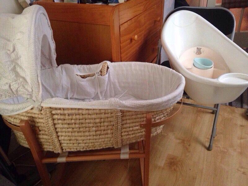 Bundle Of Baby Furniture, Moses Basket, Changing Table, Bath Tub