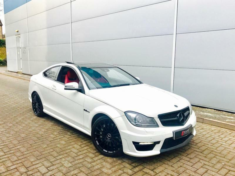 2012 12 Mercedes Benz C63 AMG 6.3 Coupe WHITE + RED LEATHER + Harmon K