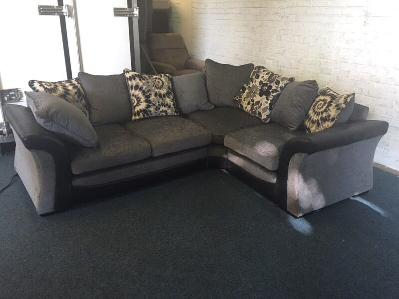 littlewoods black and grey l shape corner sofa right hand side double arm