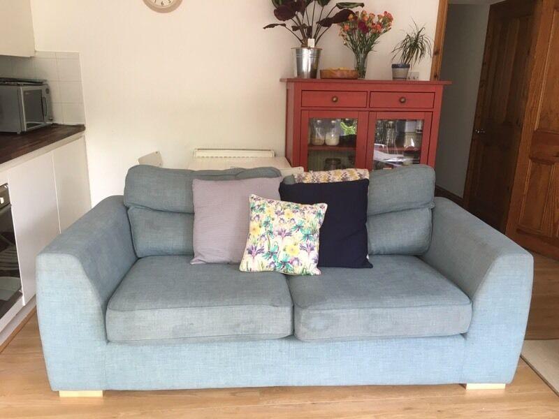 DFS Sky Blue Large Sofa Settee Sky Blue 3 Seater