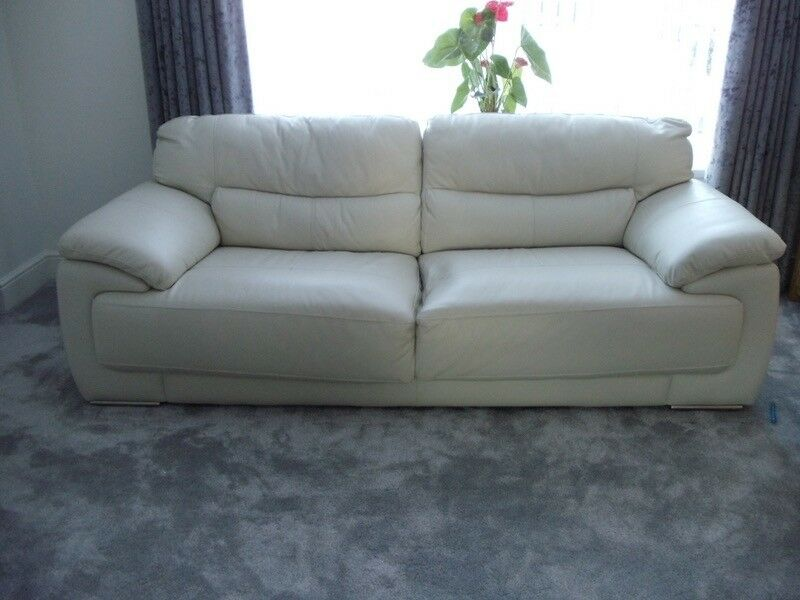 Perfect SCS Cream/off White Leather Sofa And 1 X Chair 2015