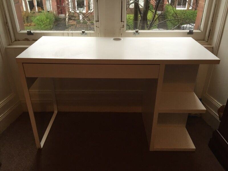 IKEA Micke Desk With Integrated Storage In White