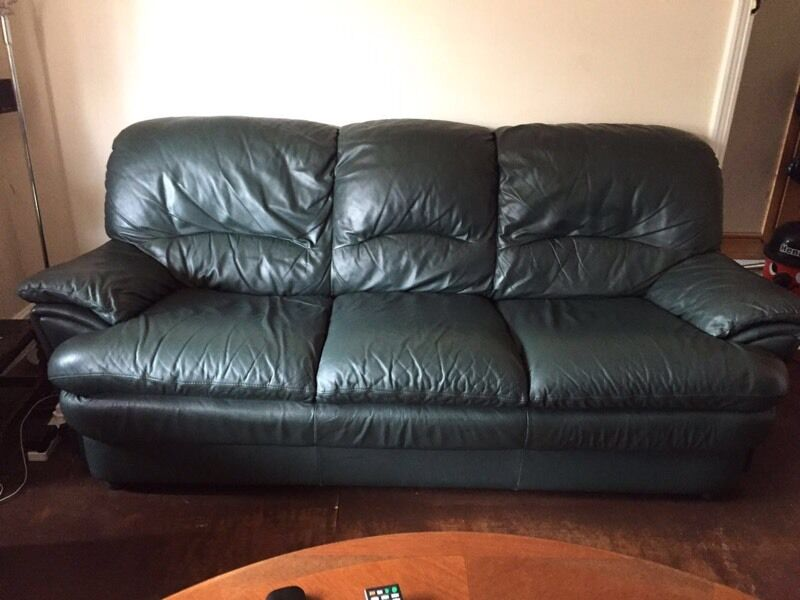 2 And 3 Seater Dark Green Leather Sofas