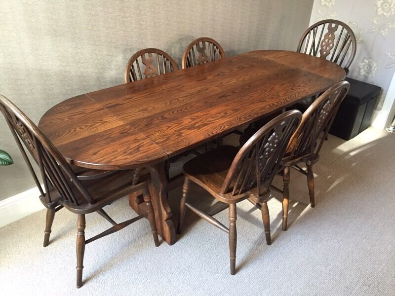 Solid Oak Dining Table And 6 Chairs By Webber Furniture