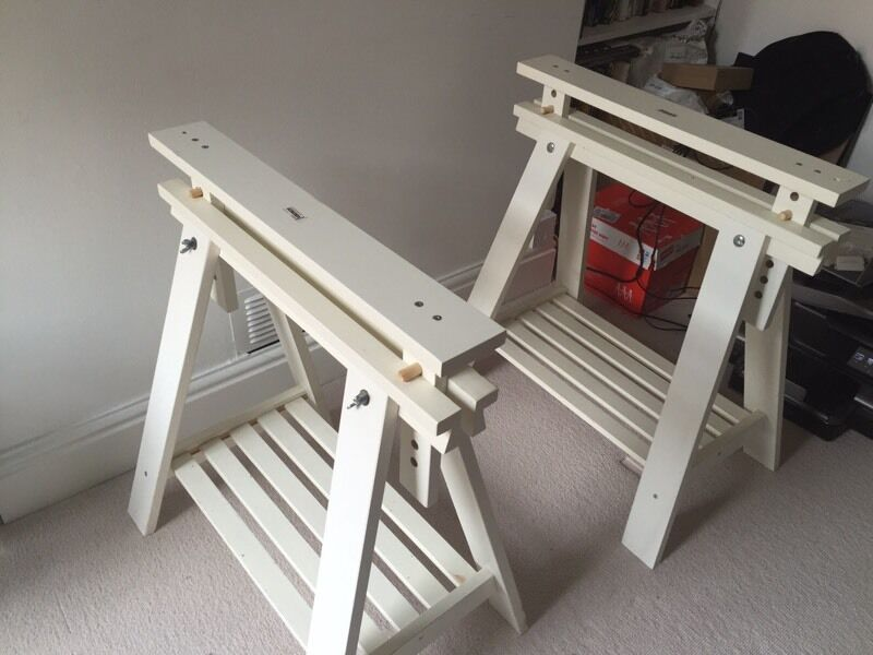 Pair Of White Wooden A Frame Table Supports. For Glass/Wooden Table Top