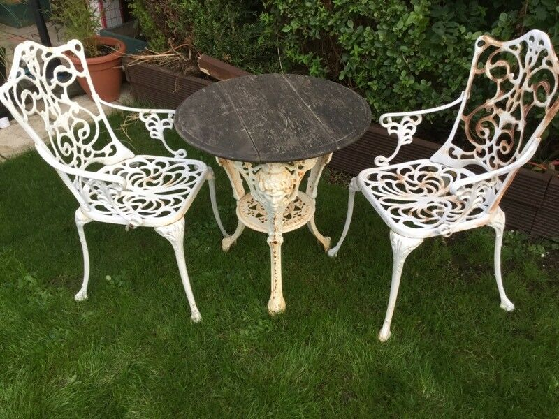 Garden Table And Chairs Cast Iron Rustic Look
