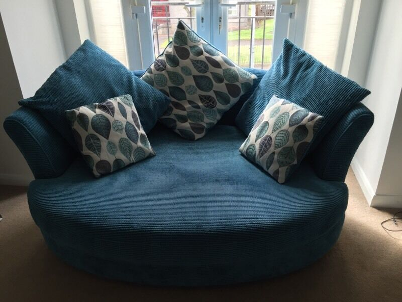 DFS Teal Corner Sofa And Cuddle Chair